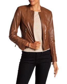 Collarless Genuine Leather Jacket