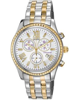 Women's Chronograph Eco-drive Two-tone Stainless Bracelet Watch