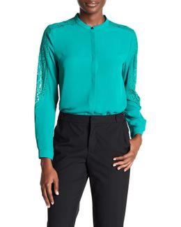 Lace Paneled Long Sleeve Shirt