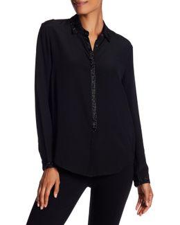 Beaded Silk Button Down Shirt