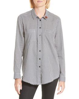 Brooch Embellished Check Shirt
