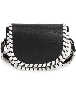 Small Claudia Whipstitch Faux Leather Saddle Bag