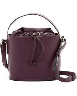 Dane Faux Leather Drawstring Bucket Bag