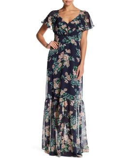 Chiffon Flutter Sleeve Maxi Dress