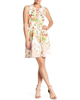 Front Zip Print Scuba Dress