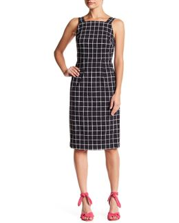 Sleeveless Windowpane Print Dress