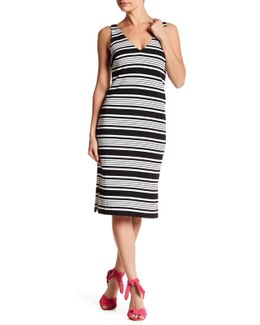 V-neck Stripe Print Shift Dress