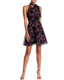 Printed Chiffon Neck Tie Fit & Flare Dress