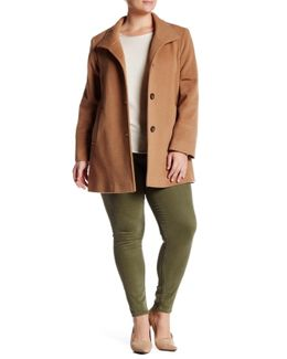Stand Collar Wool Blend Car Coat (plus Size)