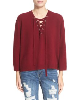 Lace-up Wool & Cashmere Sweater