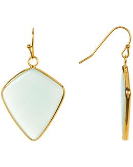 Mint Triangular Stone Earrings