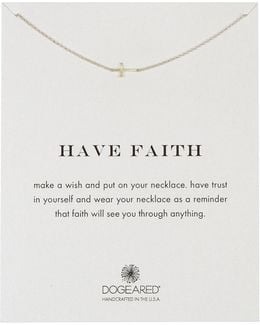Sterling Silver Have Faith Sideways Cross Pendant Necklace