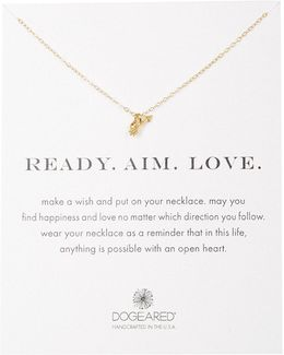 14k Gold Plated Sterling Silver Ready.aim.love. Arrow Pendant Necklace