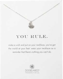 Sterling Silver You Rule Crown Pendant Necklace