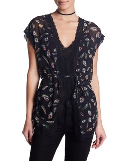 Short Sleeve Lace Trim Cardigan