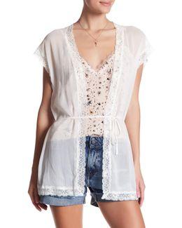 Metallic Lace Short Sleeve Cardigan