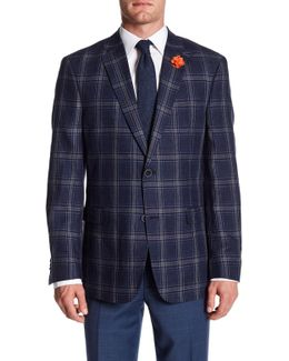 Navy Plaid Notch Lapel Two Button Linen Sport Coat