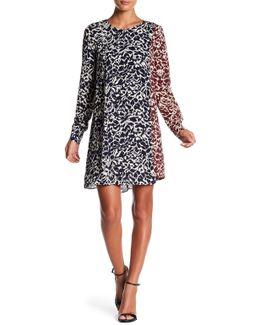 Asymmetrical Long Sleeve Print Dress