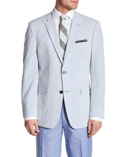 Ethan Blue Striped Woven Two Button Notch Lapel Sportcoat