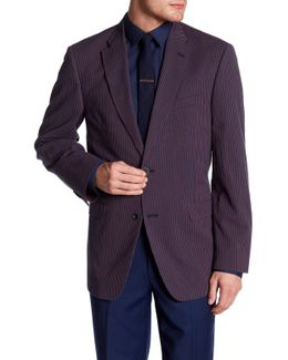 Ethan Navy Striped Woven Two Button Notch Lapel Sportcoat