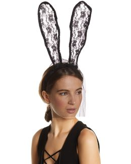 Front Veil Lace Bunny Ear Headband
