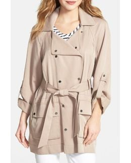 Double Breasted Raglan Sleeve Trench Coat