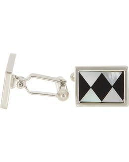 Sterling Silver Oval Checker Mosaic Cuff Links