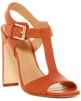 Vera T-strap Reptile Embossed Sandal