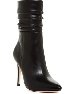 Pleated Shaft Leather Boot