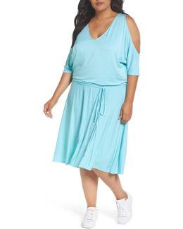 Cold Shoulder Stripe A-line Dress