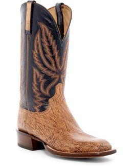 Genuine Hornback Caiman Crocodile Leather Cowboy Boot