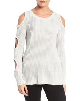 Cutout Sleeve Cotton Sweater