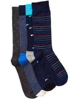 Combed Cotton Crew Socks - Pack Of 4