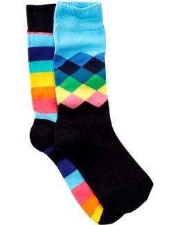 Diamonds & Stripes Crew Socks - Pack Of 2