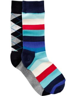 Stripes & Argyle Crew Socks - Pack Of 2