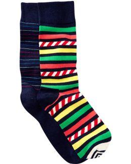 Striped Crew Socks - Pack Of 2