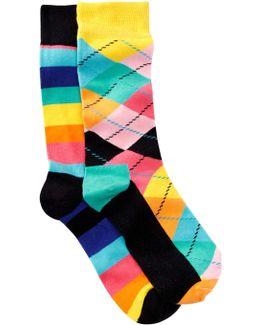 Argyle & Stripes Crew Socks - Pack Of 2