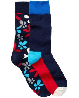 Combed Cotton Crew Socks - Pack Of 2