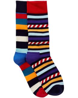 Non Terry Crew Socks - Pack Of 2