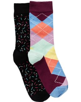 Fashion Crew Length Socks - Pack Of 2