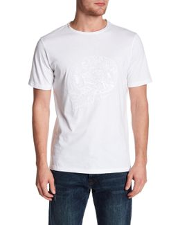 Embroidered Skull Graphic Brushed Cotton Tee