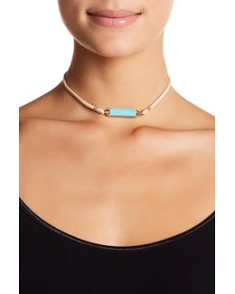Beige Suede And Turquoise Choker