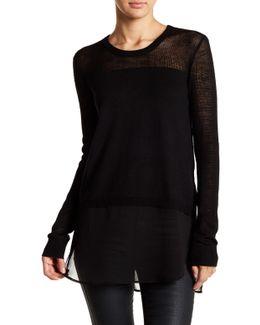 Knit & Woven Shirttail Sweater