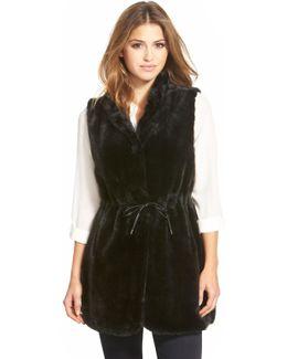 Drawstring Waist Faux Fur Vest
