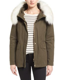 Tahari 'jackie' Hooded Anorak With Removable Faux Fur Trim