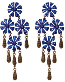 Jasmine Floral Blue Stone Drop Earrings