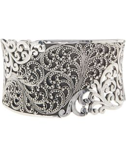 Sterling Silver Exclusive Overlay Tapered Cuff Bracelet
