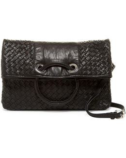 Woven Nappa Ring Leather Clutch