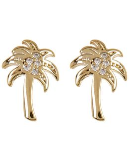 Crystal Detail Palm Tree Stud Earrings