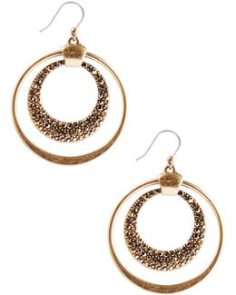 Pave Double Hoop Earrings